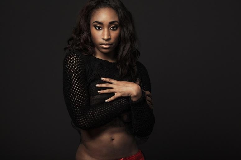 Beautiful African-American fashion model.